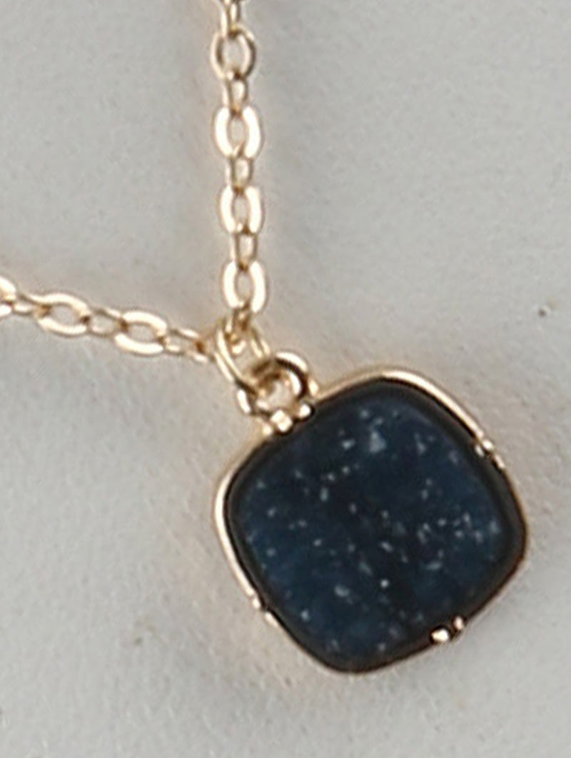 Druzy Shimmer Charm Necklace And Earring Set - Navy Blue