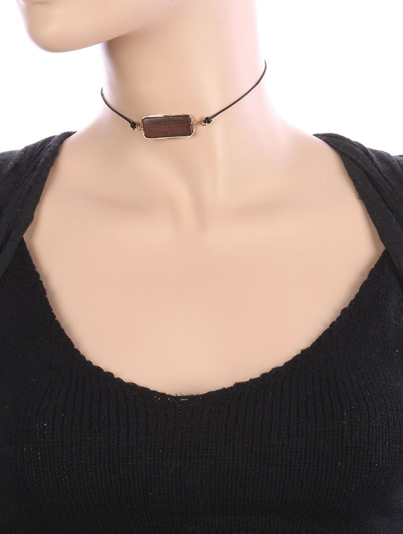 Wooden Stone Adjustable Cord Wraparound Choker Necklace