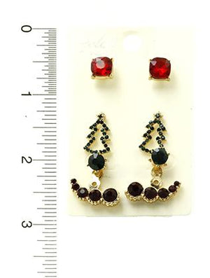 3 Pair Christmas Stud Earrings