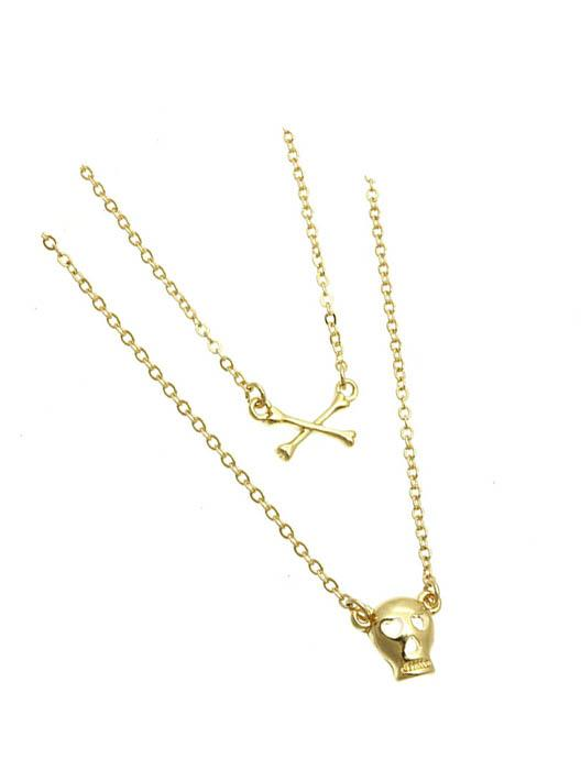 SKULL N BONES PENDANT DROP NECKLACE
