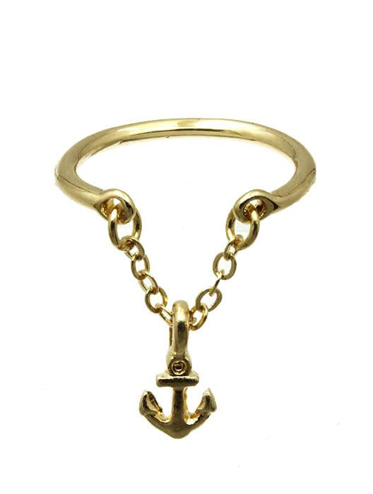 Anchor Charm Knuckle Ring