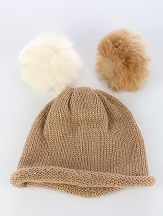 Interchangeable Pom Pom Knit Winter Beanie Hat And Cap