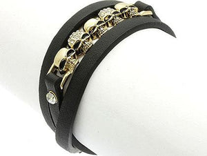 SKULLS IN A ROW LEATHER BRACELET