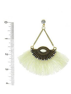 Aged Finish Fringe Fan Earrings