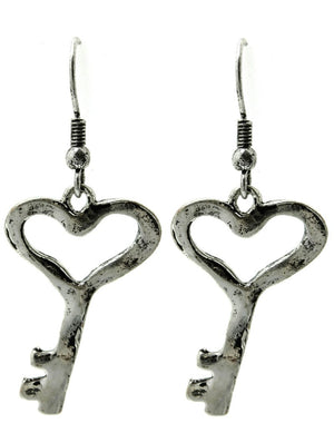Aged Finish Heart Key Earrings