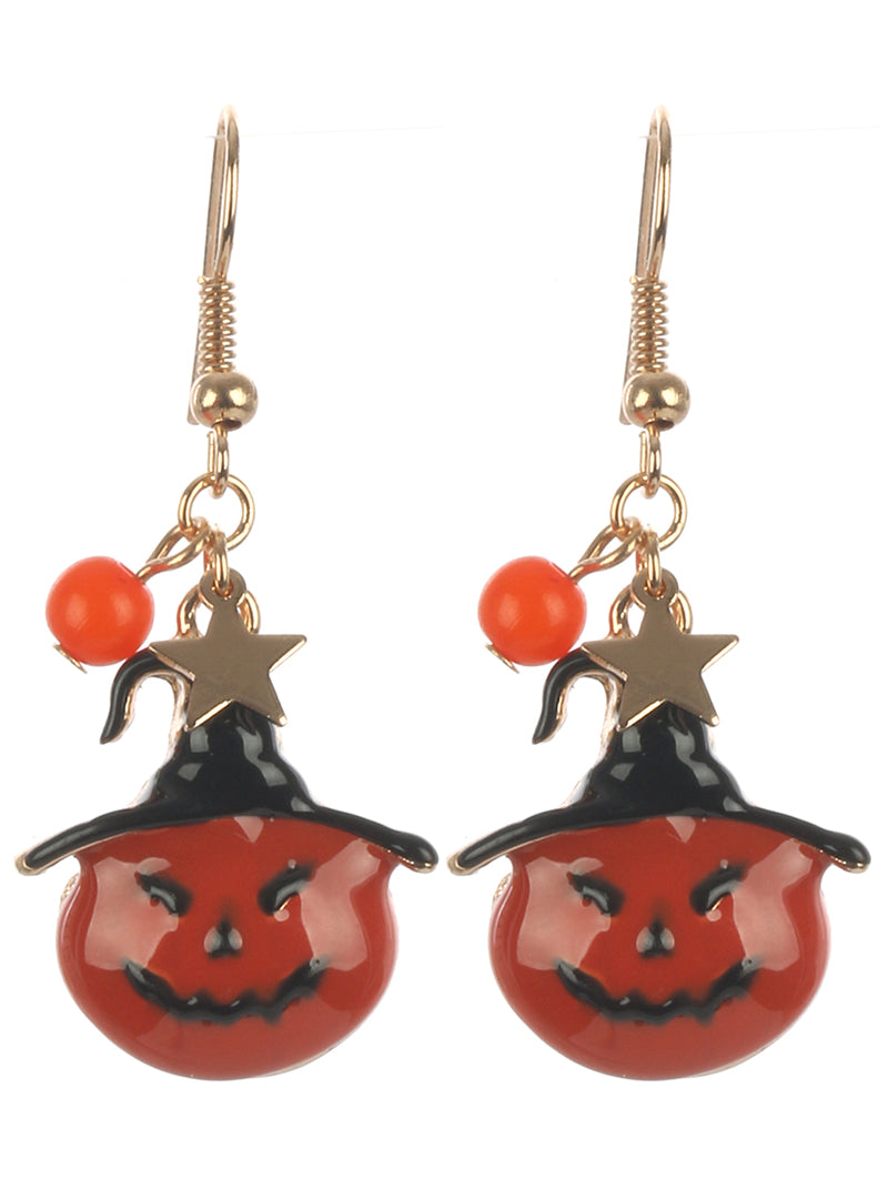 PUMPKIN WITCH EARRING