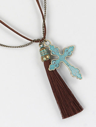 Filigree Metal Cross Tassel Charm Necklace