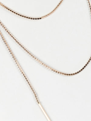 Open End Wraparound Long Rhinestone Necklace