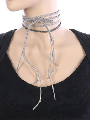 3 Pc Faux Suede Choker Necklace