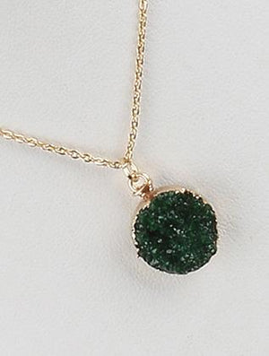 Druzy Style Stone Charm Chain Necklace