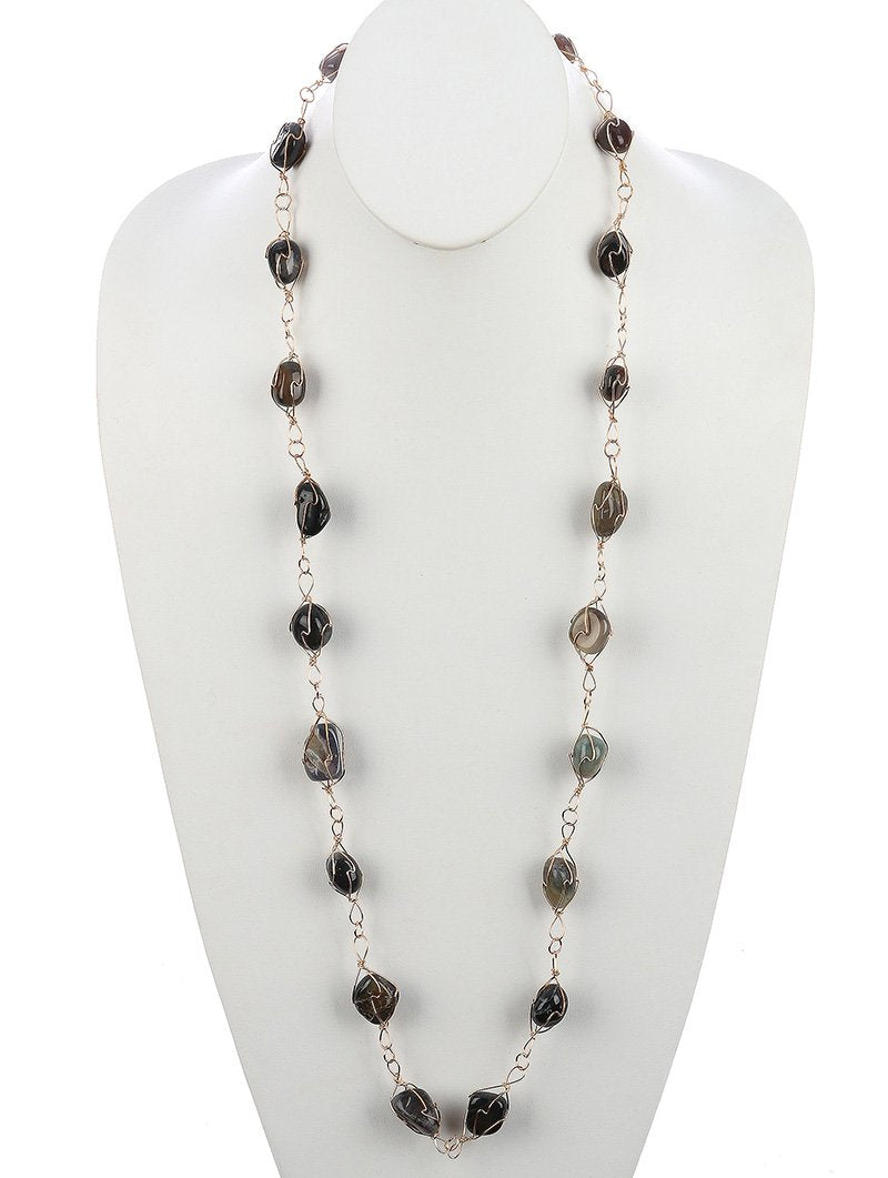 Natural Stone Finish Wire Link Chain Necklace