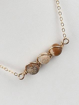 Natural Stone Finish Trio Chain Necklace