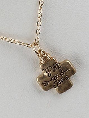 Matte Finish Metal Message Cross Charm Necklace