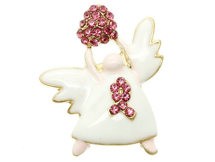BREAST CANCER AWARENESS ANGEL PIN BROOCH
