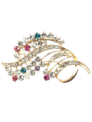 Crystal Stone Metal Bouquet Pin And Brooch