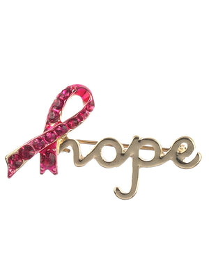 BREAST CANCER AWARENESS HOPE PIN BROOCH