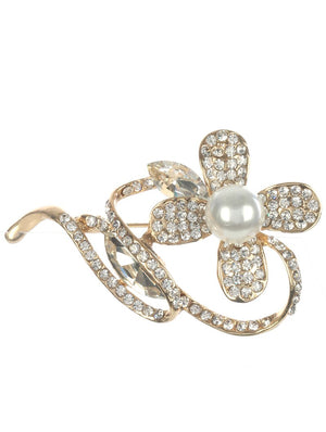 Pave Crystal Stone Metal Flower Pin And Brooch