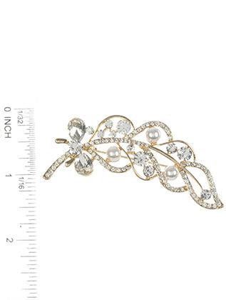 Pave Crystal Stone Metal Feather Pin And Brooch