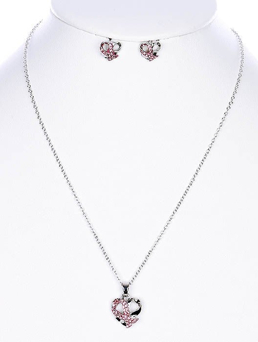 PINK BREAST CANCER RIBBON NECKLACE SET
