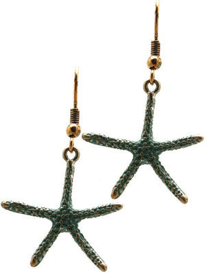 Aged Finish Starfish Earrings