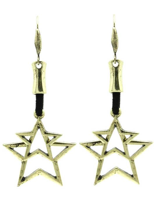 Aged Finish Double Star Charm Earrings