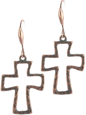 Aged Finish Cross Earrings