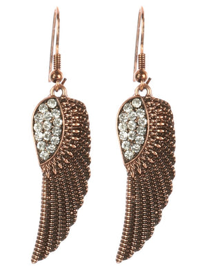 Aged Finish Textured Wings Earrings