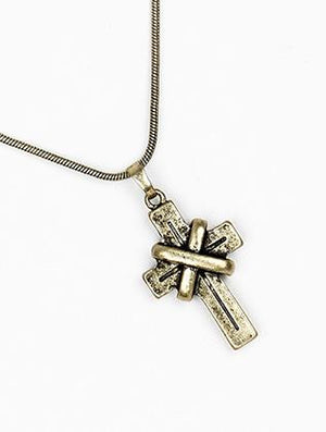 Aged Finish Cross Pendant Necklace Set