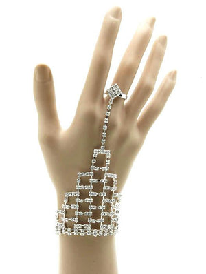 Adjustable Ring Connected Rhinestone Hand Chain Bracelet
