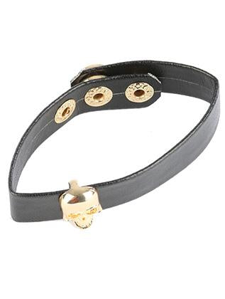 Skull Charm Faux Leather Band Bracelet