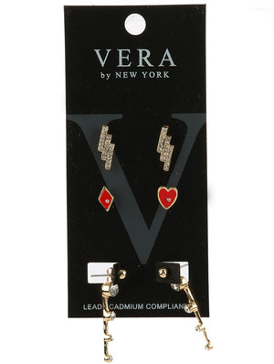 3 Pair Deck Of Cards Earrings