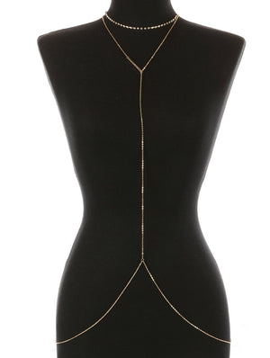 RHINESTONE CHOKER BODY CHAIN - GOLD