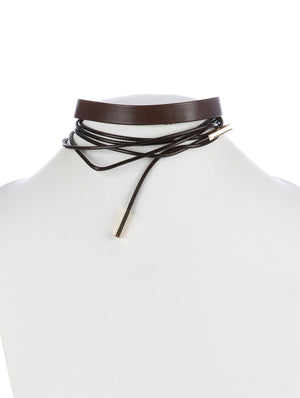 WRAP AROUND FAUX LEATHER CHOCKER NECKLACE