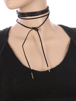 2 Pc Faux Leather Choker Necklace