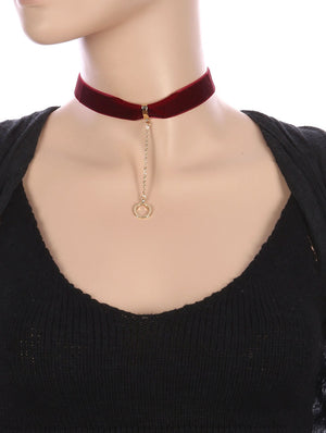 Metal Ring Charm Velvety Ribbon Choker Necklace