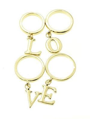4 Pc Letter Charm Ring
