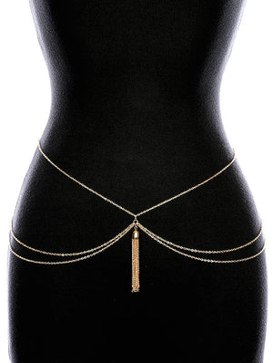 LAYERED CHAIN TASSEL  BELT