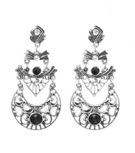 ART DECO RHINESTONE DROP EARRINGS - SILVER
