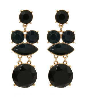 ACRYLIC STONE DROP EARRINGS - BLACK