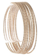 10 Pc Textured Wire Bangle Bracelet