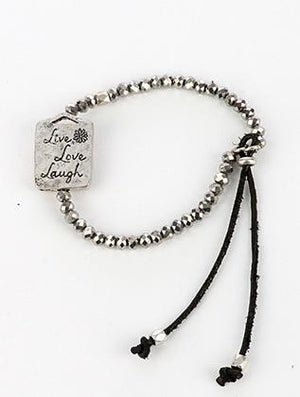 Adjustable Heart Trio Charm Message Bracelet