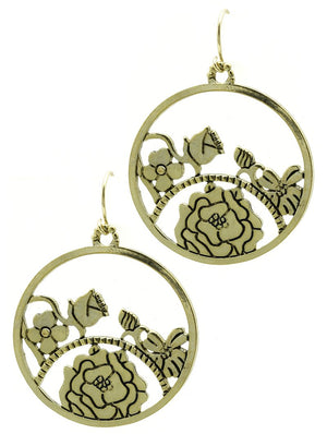 Aged Finish Cutout Flower Ring Earrings