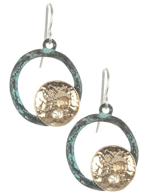 Aged Finish Hammered Ring Earrings