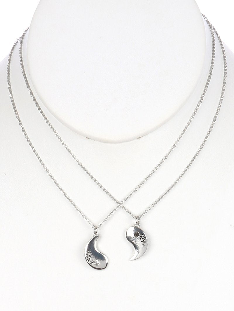 Yingyang Metal Charm 2Pc Relationship Chain Necklace