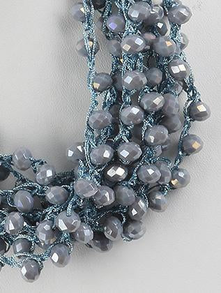 Layered Iridescent Bead Bib Necklace