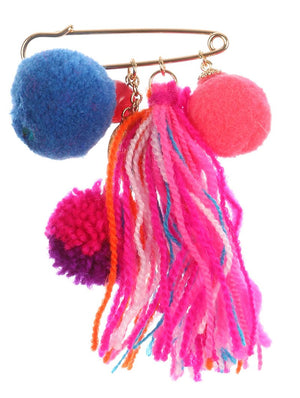 Pompom And Tassel Charm Pin And Brooch
