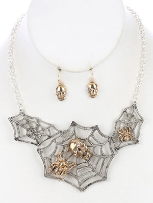 DESIGNER INSPIRED SPIDER LUX PAVE NECKLACE SET