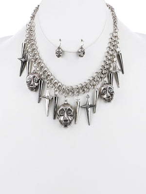 STACKED SKULLS BIB NECKLACE SET