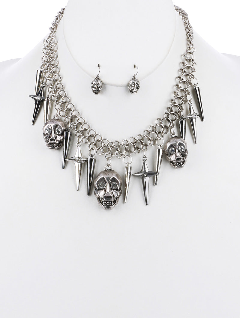 Aged Finish Skull Charm Bib Necklace Set
