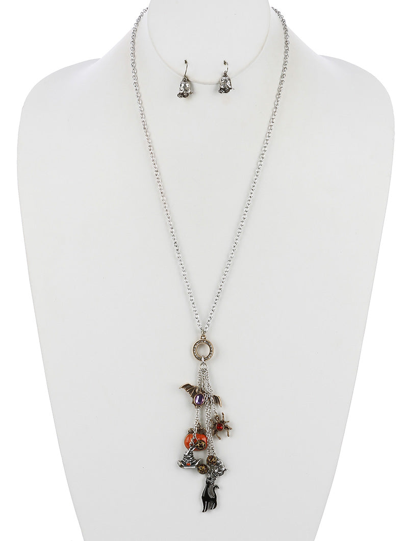Halloween Theme Charm Chain Necklace Set